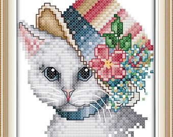 Cross Stitch Unprinted Kit A noble cat DMC threads