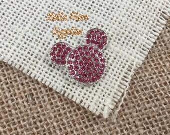 Pink Minnie Mouse Rhinestone Flatback Button, Minnie Mouse Mickey Mouse Embellishment, DIY Wholesale, Disney Headband