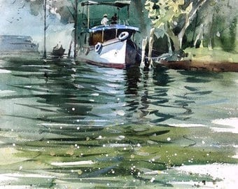 """Original Landscape, Suggestive Abstract Watercolor Painting, Size 16"""" x 12"""", Title: Kerala Boat"""