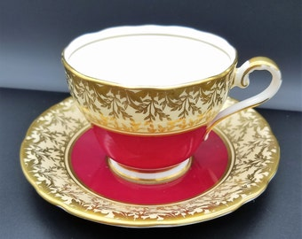 Aynsley Pattern 163 Red, Gold & White Teacup and Saucer Set - Free US Shipping