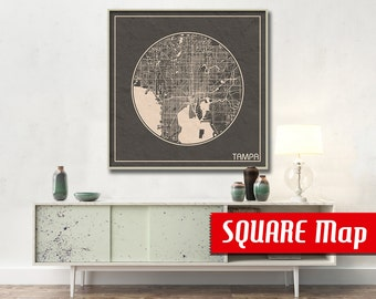 TAMPA FL SQUARE Map Tampa Florida Poster City Map Tampa Florida Art Print Tampa Florida poster Tampa Florida map