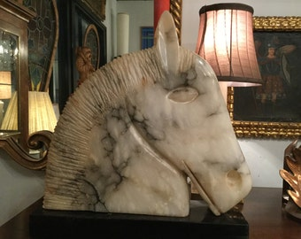 Mid Century Hand Carved Alabaster Horse Head Sculpture