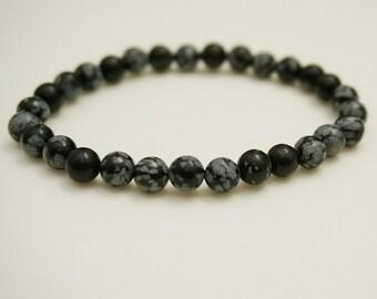Snowflake Obsidian Bracelet, Natural Gem Bracelet, Gemstone Bracelet, Stacking Yoga Bracelet, Healing Stones Gifts, Spiritual Mala Beads