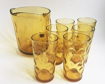 Gold glass drink serving set, 1 pitcher, 6 glasses