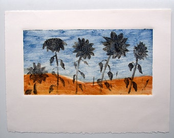 Sunflowers Monoprint, Sunflower wall Art, Australian Outback, Original Art, One of a kind print, Gift for gardener, Affordable art, Art Sale