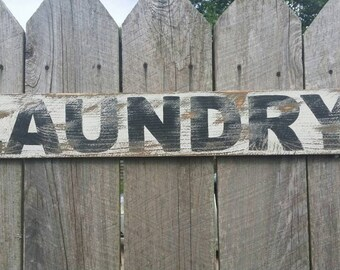 Laundry Rustic Sign, Rustic Wall Art, Hand Painted Sign, Distressed Sign