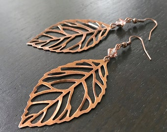Large copper leaf and Swarovski crystal earrings