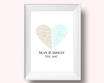 Custom Heart Map Wedding Gift, Heart Map, Engagement Gift, Anniversary Gift, Heart Map Print