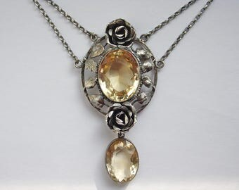 Large Antique Arts & Crafts Silver Citrine Festoon Necklace - Romantic Openwork Roses and Leaves on Belcher Chain - Art Nouveau Wedding