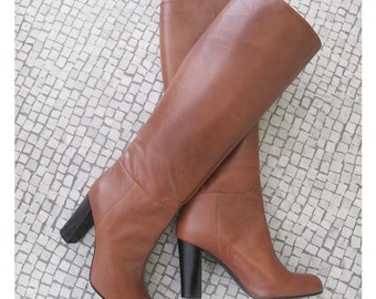 Cognac leather high boots, Leather Knee high boots, Brown knee high boots, Boots Made in Italy, women high boots, Leather shoes