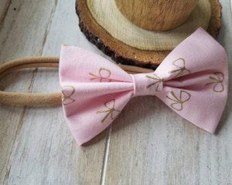Pink & Gold headband bow