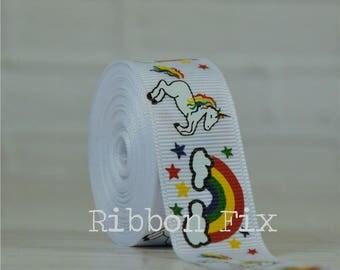 "2 + yards 3/8"" or 7/8"" White Unicorn & Rainbows Print Grosgrain Ribbon - US Designer - Rainbow Baby - Magical Horn - Dog Collar Leash - Star"