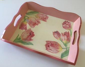"Wooden Tray, Serving Tray, Tea Time Tray, Valet Tray, Breakfast Tray, Decorative Tray, present for her, perfect present ""Pink tulips"""