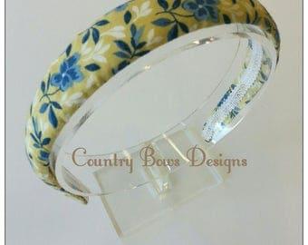 Yellow and Blue Flowers Headband-Fabric Covered Headband-Padded Headband-