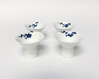 Blue cherry blossom kobachi dishes, set of 4