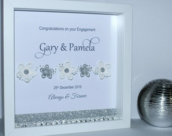 3D glitter floral engagement shadow box frame