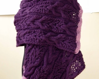 Violet Lilac, Rectangular Shawl, Lace Knit Scarf,  Hand knitted, Handmade, Warm Cozy, Gift for Her, Luxury Scarf, Any Occasion, Bohemian