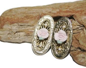 Victorian Earrings, Vintage Earrings, Flower Earrings, Filigree Earrings, Oval Earrings, Filigree Jewelry, Downton Abbey Jewelry