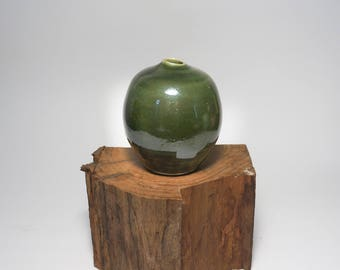 Emerald green miniature moonjar porcelain vase
