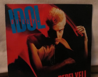 "Billy Idol, Rebel Yell LP, 12"" VG Vinyl, VG Cover & Insert, 80's Rock, Punk, Record Album"