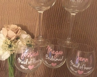 Beautiful bridal party wine glasses