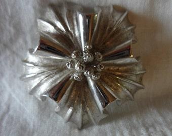 Coro Vintage Silver-Tone Floral Brooch Pin