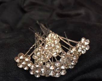 Silver rhinestone flower hair pins