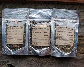 Autumn Harvest loose leaf tea artisan gift set: three flavors, organic, natural hand-blended at the Washington coast