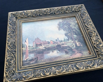 """Vintage Framed Print in Rich Ornate Gilded Frame. Quality Framed Print Choice of Two: """"Cornfield"""" or """"Dedham Mill"""" by John Constable"""