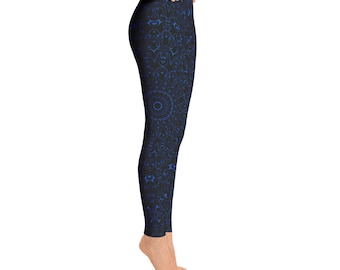 Cobalt Blue Yoga Pants - Black Leggings with Blue Mandala Designs for Women, Printed Leggings, Pattern Yoga Tights