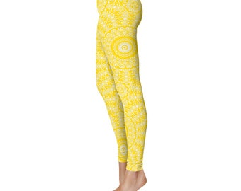 Gold Yoga Leggings - Gold Leggings, Yellow and White Printed Leggings, Mandala Art Tights, Stretch Pants