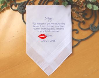 Wedding Anniversaries Handkerchief-custom PRINTED-Personalized.  MS1FCHI