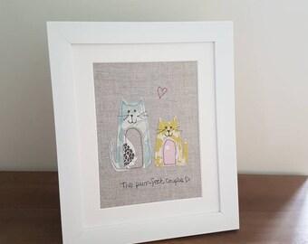 Original textile art, textile picture, quirky cat picture, applique art, handmade, free motion, machine embroidery, wedding gift, unique
