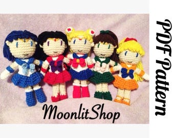Sailor Moon Inspired Crochet Sailor Moon, Sailor Mars, Sailor Mercury, Sailor Jupiter & Sailor Venus Amigurumi Dolls All in One PDF Pattern