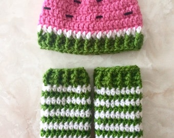 Crochet watermelon hat and leg warmer set - newborn photo prop - 0 to 3 months - infant set - crochet photo prop