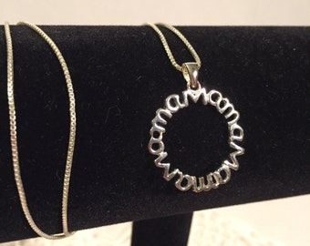 "Sterling Charm ""Mama"" Pendant with Chain"