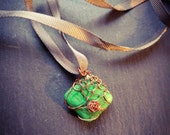 green stone in copper net pendant