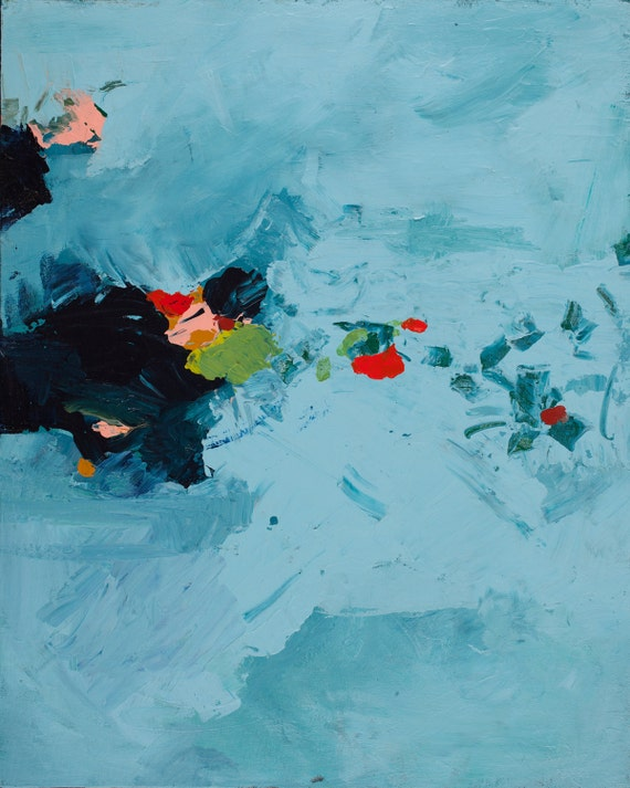 Modern Art painting and print turquoise