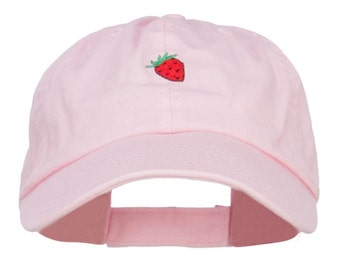 Mini Strawberry Embroidered Low Cap
