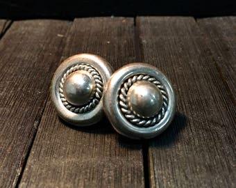 Vintage Navajo Sterling Silver Earrings   #236