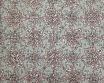 Fabric Cotton Sateen Modern Circle Pink Grey Brown Sky Blue