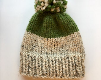 Ready To Ship! Chunky Knit Pom Pom Hat // THE DIXIE // Grass and Oatmeal