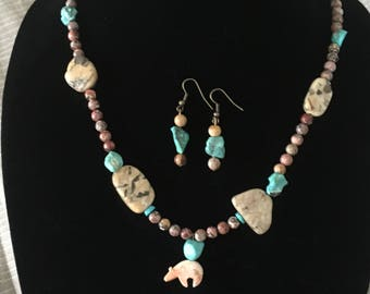 Handmade real gemstone necklace and earrings, gemstone necklace, handmade jewerly
