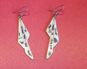 Vintage Mexico Enamel Abalone Geometric Drop Earrings