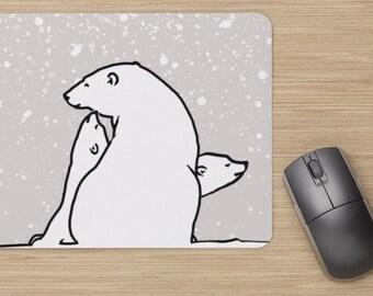 Mouse pad, polar bear family, polar bears, snow, image of polar bears, drawing of polar bear, painting of polar bears, white bears,