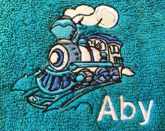 Steam train Embroidered onto a  towel