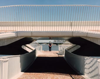 Architecture, Nijmegen Waal Jump. Bridge, lonely. Lines game. Elderly, port. Photo print/print on 3 formats high gloss or matte photo paper.