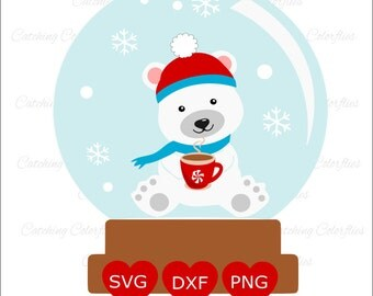 Snow Globe Svg cut files- Polar Bear Christmas svg, Hot chocolate svg, Christmas svg files, SVG, DXF, PNG, Use with Cricut & Silhouette