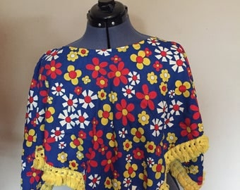 Vintage flower power poncho with tassels, music festival poncho