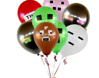 """Set of 14, 21 or 28 Minecraft Inspired 12"""" Latex Balloons - Perfect for your next Minecraft Birthday Party!"""